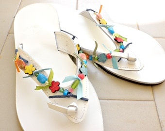 White leather sandals with beads - Handmade sandals-Decorated leather sandals-Summer shoes-Greek leather sandals-Multicolor leather sandals