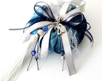 Blue velvet pumpkin new year 2020 protection gift, Christmas ornament, New year 2020 Greek gouri gift, Good luck gift, Handmade ornament