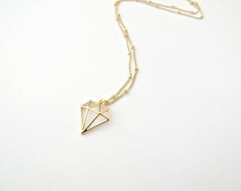 Gold Diamond Shape Necklace, Origami Diamond Necklace, Cute Jewelry, Simple Necklace, Dianty Necklace, Gold Plated Necklace