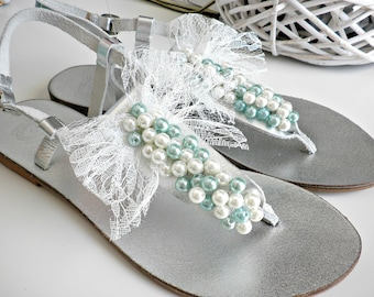 Wedding sandals- Silver leather sandals- Greek leather sandals with pearls and lace bow-Silver flats teal white pearls-Bridesmaids sandals