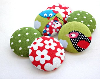 Covered buttons- Fabric buttons- Size 45 28mm -Red Floral buttons- Green polka dots buttons- Bird buttons-Scrapbooking supplies