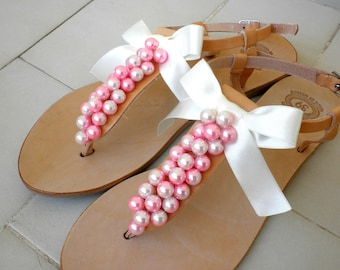 Wedding sandals- Greek leather sandals decorated with pink ivory pearls - Bridal party shoes - Summer women flats- Bridesmaid sandals