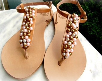 Wedding sandals, Greek leather sandals, Pearls sandals, Summer shoes, Bridal party, Bridesmaid flats, Beach wedding, Decorated sandals,