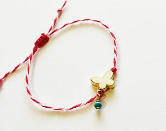 Bραχιόλι Μάρτης με μεταλλική άσπρη πεταλούδα / March bracelet with butterfly bead