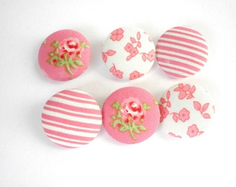 Pink fabric buttons -Sewing buttons -Covered fabric buttons -Size45 28mm 1 1/8inch -Flower fabric buttons -Pink stripes covered buttons