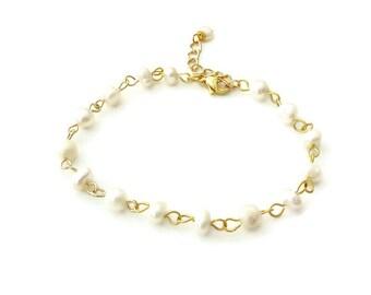 Gold pearl bracelet, Freshwater rosary bracelet, Wedding pearl bracelet, White pearl bracelet, White rosary bracelet, Mother's day gift