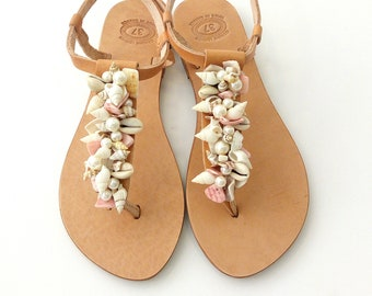 Cowrie sandals, Beach wedding leather sandals, Greek leather sandals, Bridal decorated sandals with sea shells and pearls, Summer pearl flat
