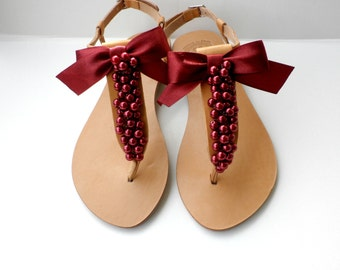 Burgundy wedding sandals- Summer flats- Burgundy shoes -Greek leather sandals -Hot pink ruby- Bridal party-  Women flats- Bridesmaid sandals