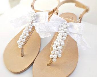 Bridal sandals- Greek leather sandals-Wedding sandals decorated with white pearls and satin lace bow -White women flats- Bridesmaid sandals