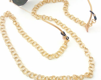 Sunglasses chain necklace, Gold glasses chain, Lanyard chain, Sunglass holder, Gold eyeglass necklace, reading glasses, Gold laces glasses