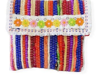 Greek kourelοu bag, Multicolor bag, Boho chic bag, Upcycled unique bag, Boho kilim bag, Handmade hippie bag, Summer envelope bag
