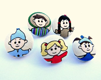 Fabric buttons - Set of 5 covered buttons - Kids face Fun buttons - Sewing buttons - Children face fabric buttons -Size 45 28mm