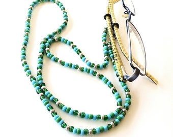 Green blue beaded glasses cord, Multicolor eyeglass chain, Beaded blue glasses lanyard, Sunglass Chain, Reading Glass Chain, Gift For Her