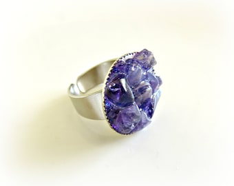Amethyst ring - Purple ring - Round ring - Cocktail ring - Amethyst chips ring - Gift for her - Ready to chip