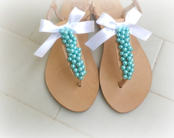 Wedding sandals- Turquoise pearls- Leather sandals decorated with teal pearls and lace bow -Turquoise women flats- Bridesmaid sandals