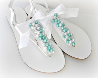 Wedding white Greek leather sandals, White sandals decorated with white and green turquoise pearls white bow, Bridals shoes,Beach wedding