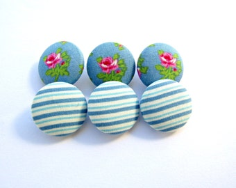 Blue fabric buttons / Floral pink blue buttons /  Sewing buttons / Rose buttons / Size 45 28mm /Covered fabric buttons /Shabby chic buttons