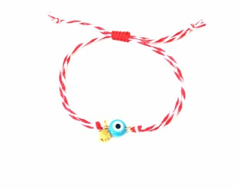 Evil eye Red and white bracelet, Greek March protection bracelet, Spring Red white evil eye bracelet, Martis bracelet, Adjustable bracelet