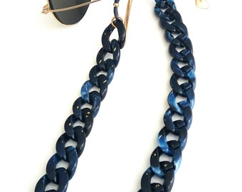 Blue Sunglasses chain Flat acrylic tortoiseshell chain Blue sunglasses necklace Laces for sunglasses Glasses holder Eyeglasses necklace