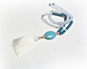 Long beaded necklace with white tassel, Turquoise stone necklace, Tassel necklace, Boho beaded necklace, Blue white , Summer jewelry
