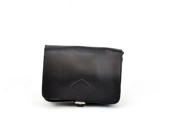Black leather bag, Women handbag, Small Leather Saddle Bag, Mini black crossbody bag, Shoulder bag, Women saddle bag