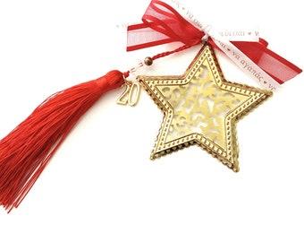 New year 2020 good luck Christmas ornament, Protection ornament for good luck 2020, Gold star Christmas gift,  Γούρι 2020 με χρυσό αστέρι