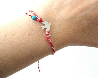 Bird red and white with blue bead adjustable bracelet, Greek March protection bracelet, Spring Red white bracelet, Martis bracelet