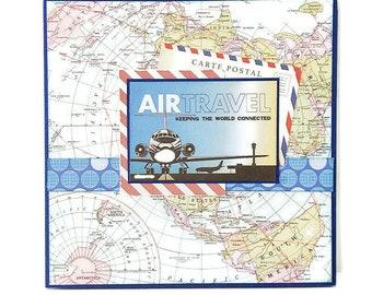 Accordion travel mini album, Travel album, Handmade album, Premade pages album, Vacation memories album, Square 6x6 inches album, Photo book
