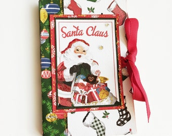 New year retro mini album, Christmas memories, Scrapbooking album, Retro Christmas gift, Photo book, Ready to ship