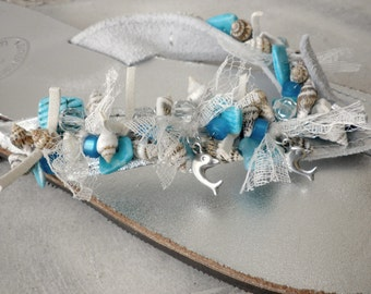 Wedding sandals- Bridal sandals - Greek silver leather sandals with shells and lace -Bridal shoes- Beach wedding - Decorated silver shoes