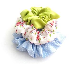 Polka dot scrunchies, Σετ υφασμάτινα λαστιχάκια για τα μαλλιά