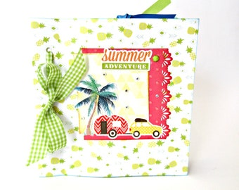 Summer mini album, Camper van scrapbook album, Camping scrapbook album, Photo book, Summer adventure photo album, Premade pages, 6X6 album