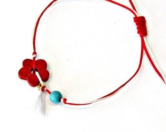 Βραχιόλι με κόκκινο λουλούδι