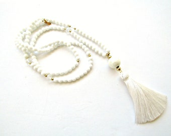 White tassel beaded necklace, Boho white necklace, Tassel necklace, White gold beaded necklace, Minimalist jewelry, Gift for her