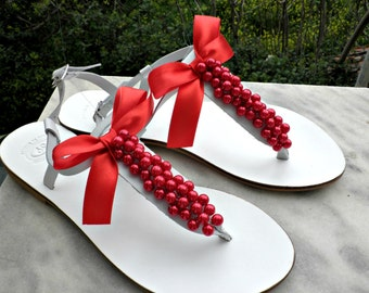White sandals with red apple pearls, Greek leather sandals, Wedding sandals, Bridal party shoes, Bridesmaids shoes,Red Pearls, Beach wedding