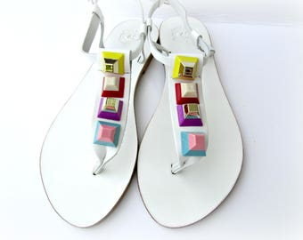 White leather sandals/ Greek sandals/ Beach wear/ Decorated sandals with colorful pyramid studs/ Multicolor rainbow sandals/ Summer sandals