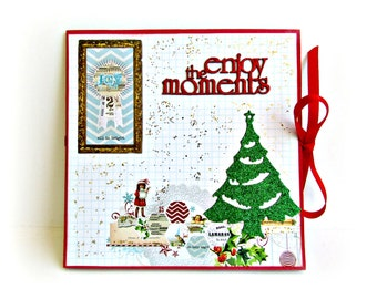 Christmas mini album, Premade pages album, Accordion mini album, Christmas gift, Square 6x6 inches album, Photo book, Ready to ship