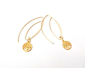 Delicate earrings, Tree of life earrings, Gold plated earrings, Bridal earrings, Dangle earrings, Christmas gift, Gift for her
