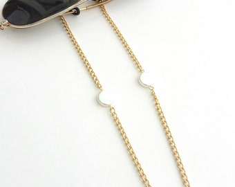 Sunglasses gold chain with faux pearls /Επίχρυση αλυσίδα για γυαλιά με πέρλες
