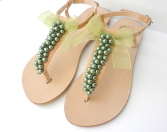 Wedding sandals -Pearl sandals - Greek leather sandals - Green pearls decorated sandals - Bridal shoes - Bridesmaid flats - Beach shoes