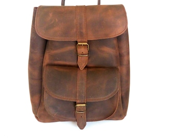 Brown leather backpack, Leather bag, School backpack, Greek leather bag, Everyday bag, Leather brown backpack, Unisex bag, Made in Greece