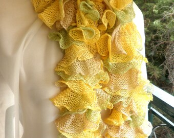 Yellow scarf- Mother's day gift-Yellow green handknitted scarf with ruffles-Spring scarf neckwarmer - Green yellow scarf-multicoloured scarf