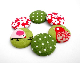 Red floral buttons - Covered fabric buttons - Sewing buttons -Green fabric buttons -Fabric covered buttons -Size 45 28mm -  -Bird buttons -