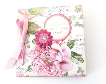 Romantic pink flowers Scrapbook mini album, Premade pages, Gift for mom, Square 6x6 photo book, Anniversary gift, Mother's day gift