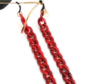 Red sunglasses chain, Flat acrylic tortoiseshell chain, Red sunglasses chain, Laces for sunglasses, Glasses holder, Eyeglasses necklace