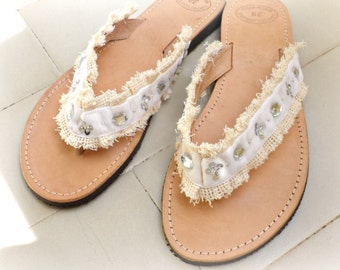 Wedding sandals- Greek leather sandals- Bridal shoes- Beach wedding- Summer sandals- Leather sandals decorated with ivory trim-