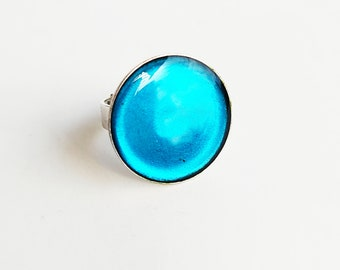 Blue resin ring - Adjustable blue ring - Blue ocean ring - Cocktail ring- Round blue adjustable ring- Summer ring - Minimalist ring
