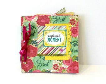 Retro mini album, Green photo album, Square 6x6 Scrapbooking album, Premade handmade photo book, Floral Memories album, Mothers day gift