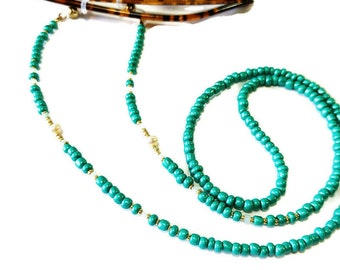 Green beaded with freshwater pearl glasses cord, Pearl beaded cord, Eyeglass necklace, Beaded glasses lanyard, Reading Glasses cord