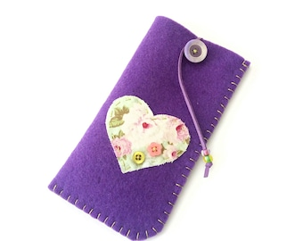 Μωβ χειροποίητη θήκη γυαλιών από τσόχα - Purple felt case Reading glasses pouch - Heart eyeglasses case - Mother's day gift
